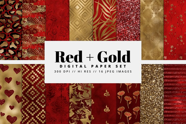 Red & Gold Digital Paper Pack example image 1