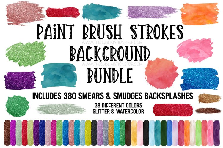 Brush Strokes Background Bundle Glitter & Watercolor PNG