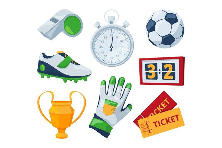 Cartoon symbols of soccer. Vector sport illustrations