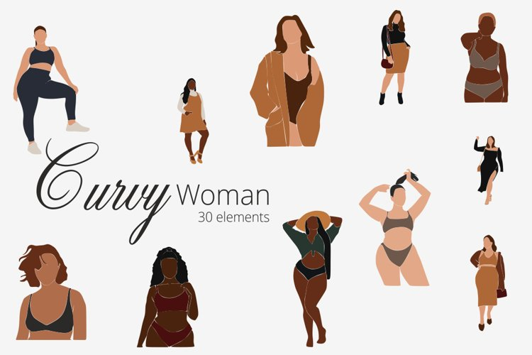 Curvy Woman SVG, abstract clip art, curvy girls, black woman example image 1
