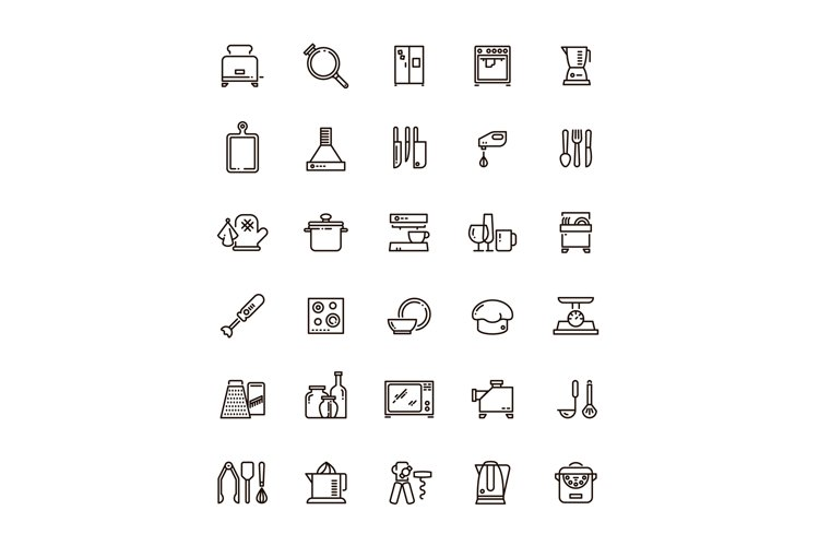 Cuisine, kitchen tools and appliances line vector icons. Res example image 1