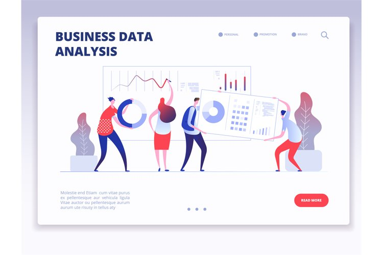 Landing page. People with dashboard and data charts infograp example image 1