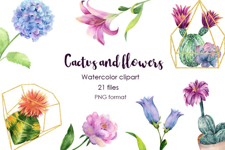 Watercolor Cactus and Flowers Clipart. example image 1