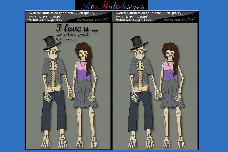Skeleton illustration / printable / skeleton couple illustrations