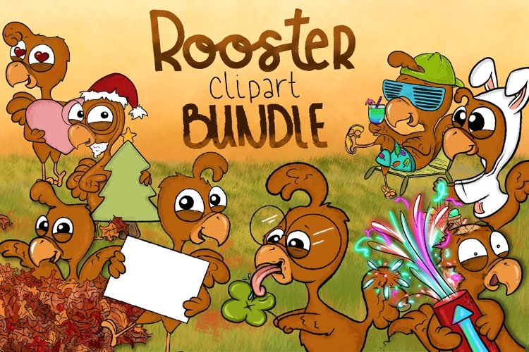 Rooster Clipart| Cute Bird Clipart | Seasonal Illustrations