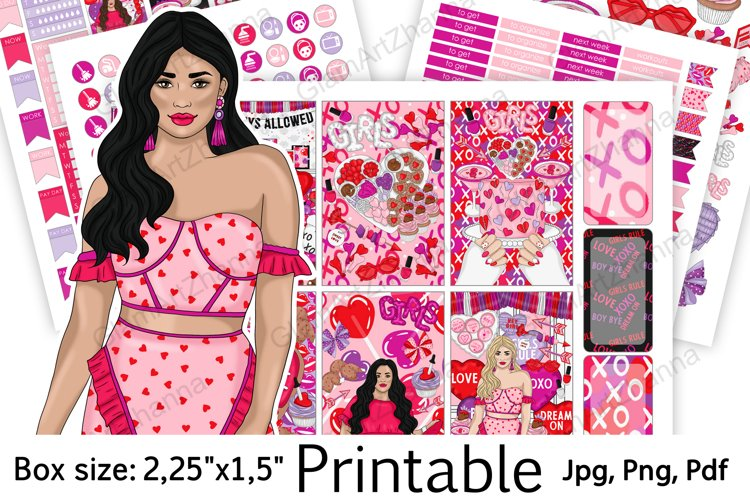 """Galentine's Day Printable Sticker Box Size 2,25""""x1,5"""" example image 1"""