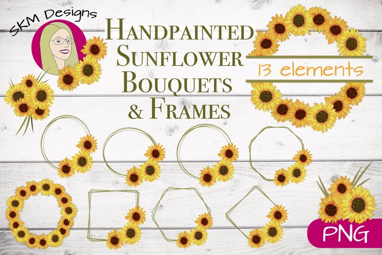 Handpainted Sunflower Bouquets and Frames Clip Art example image 1
