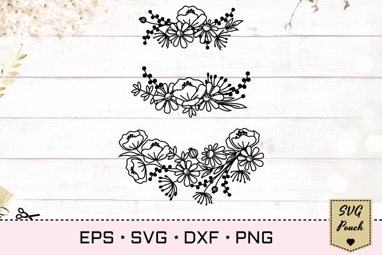 Wildflower wreath florals SVG example image 1