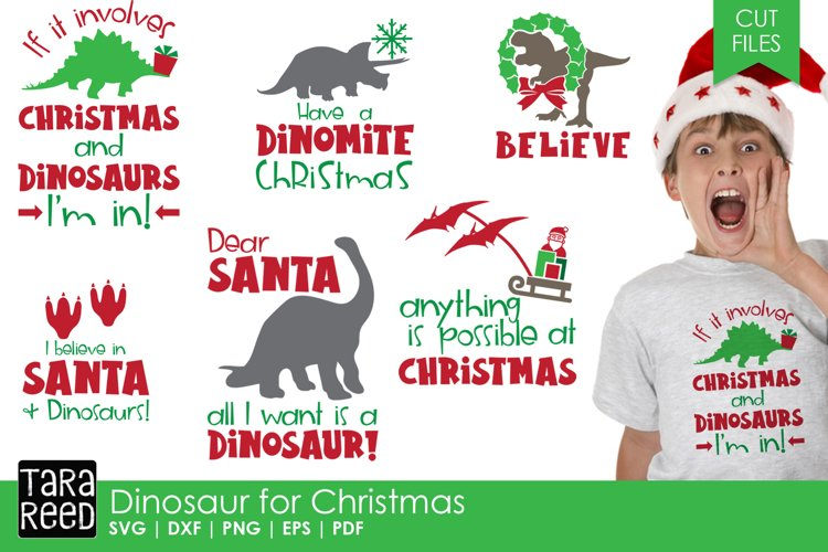 Dinosaur for Christmas - Christmas SVG & Cut Files for Craft