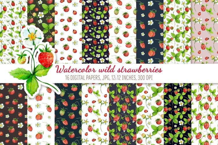Watercolor wild strawberries. Digital paper pack example image 1