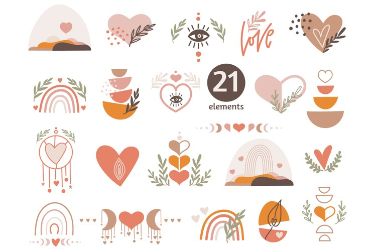 Boho Love Clipart, Valentine's Heart Clipart, elements example image 1
