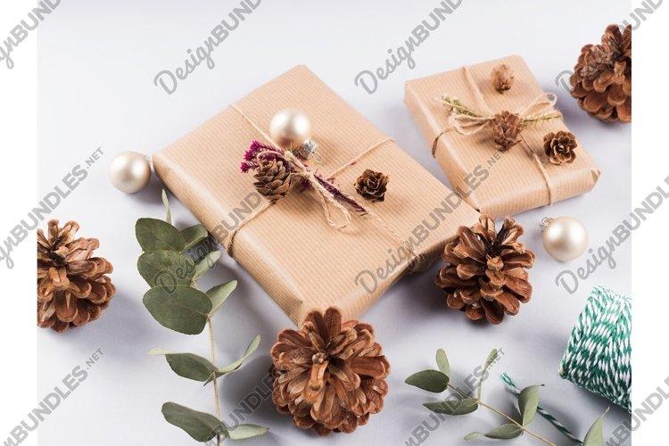 Christmas festive scene with wrapped zero waste presents