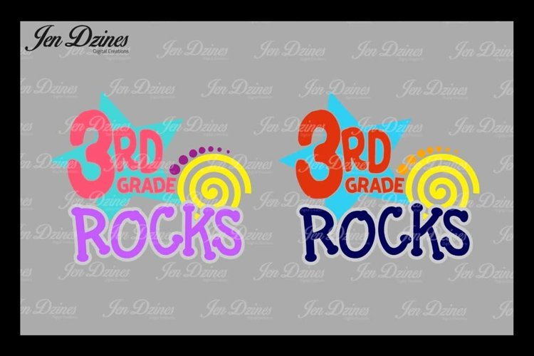 Third Grade Rocks SVG DXF EPS PNG example image 1