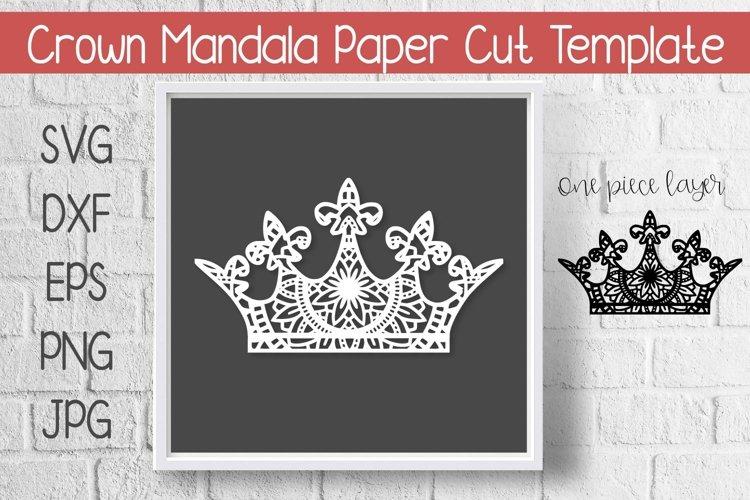 Crown Mandala Paper Cut Template Design SVG example image 1