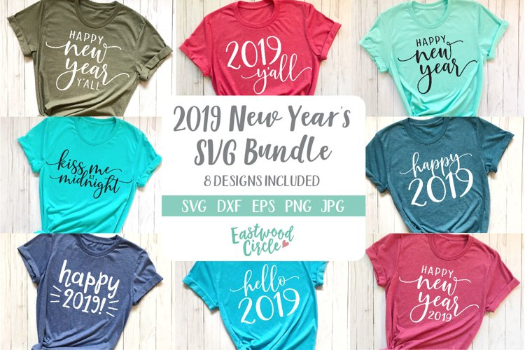 New Years 2019 SVG Cut File Bundle example image 1