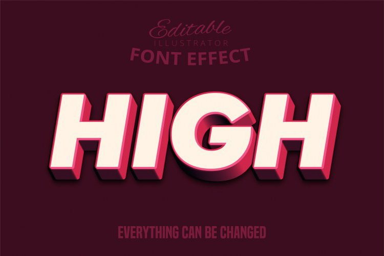 High text, editable text effect example image 1
