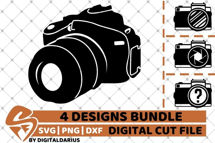 4x Camera Designs Bundle svg, Camping svg, Photography svg example image 1