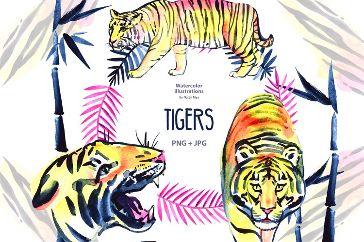 Watercolor tigers and bamboo example image 1