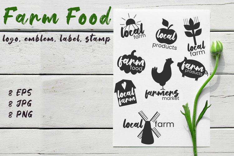Farm food logo / emblem / label / stamp example image 1