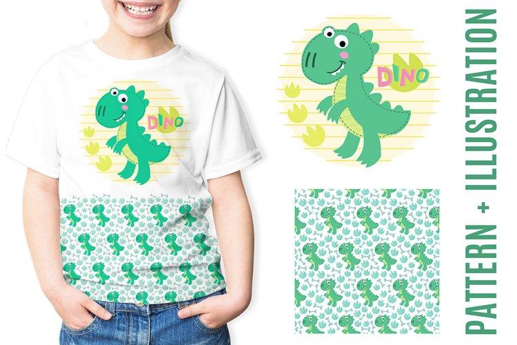 Dinosaur illustration and pattern