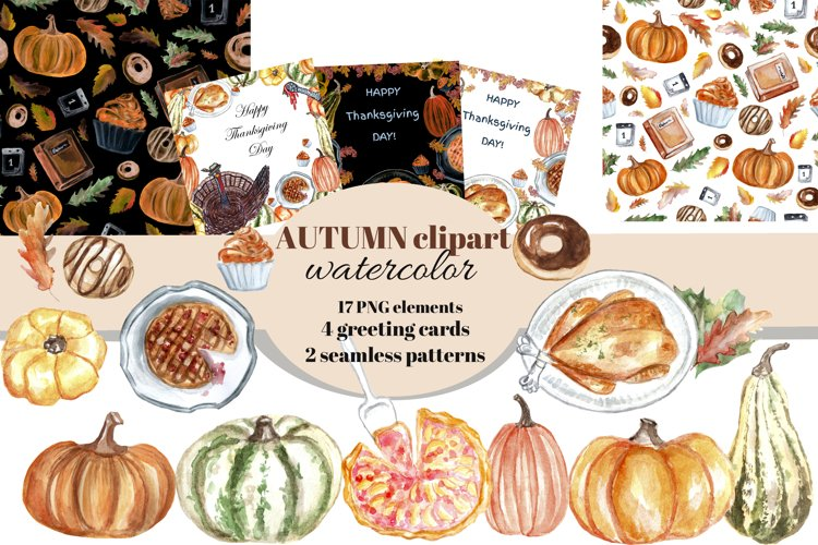 Autumn watercolor clipart set. Thanksgiving day cards. example image 1