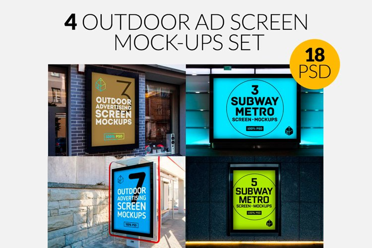 4 Outdoor Ad Screen Mock-Ups Set Bundle / 18 PSD example image 1