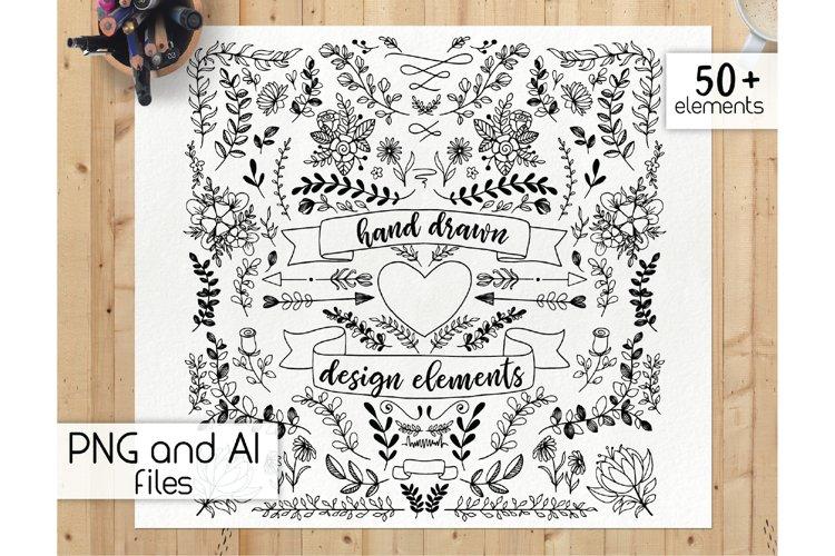 Handdrawn design elements - botanical clipart, floral doodle example image 1