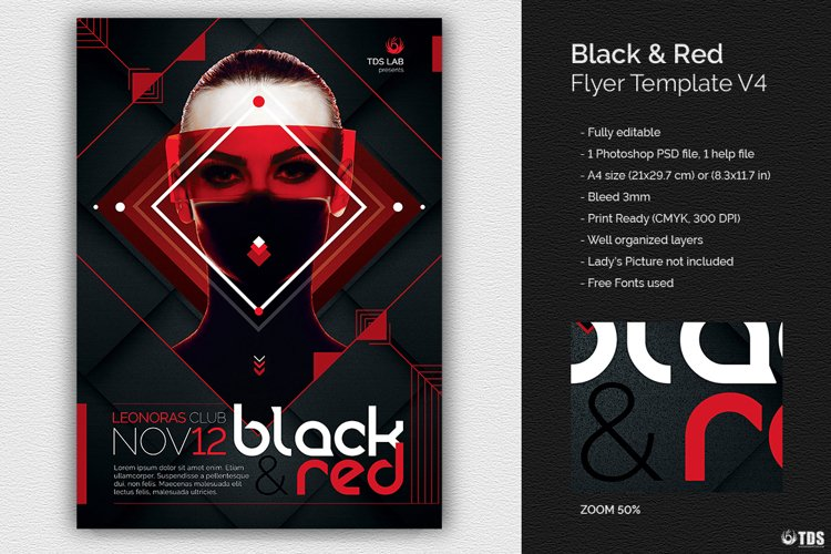 Black and Red Flyer Template V4 example image 1