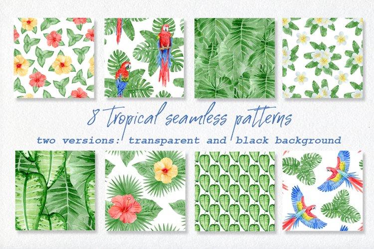 Watercolor tropical seamless patterns | JPEG PSD PNG
