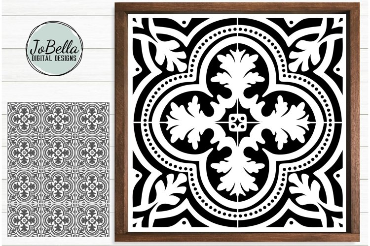 Spanish Tile 1 SVG, Stencil Template and Printable