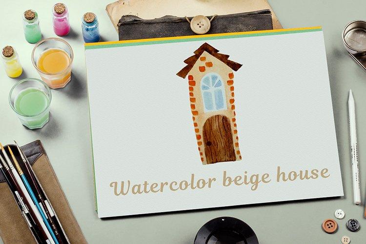 Beige watercolor house