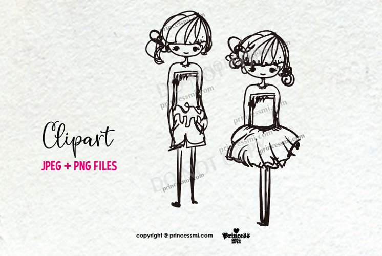 two doll set, girl clipart, two little doll