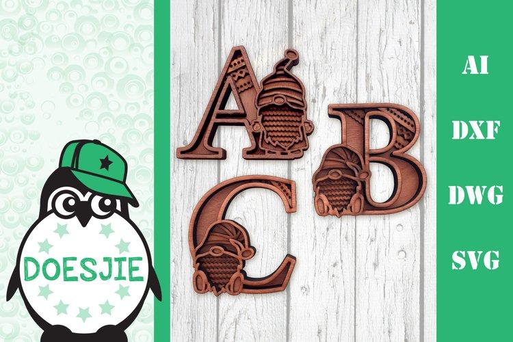 Gnome letters 3D multi layer mandala layered alphabet bundle example image 1