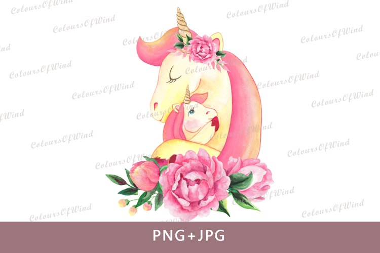 Watercolor Unicorn Head with Flowers PNG Sublimation Clipart example image 1