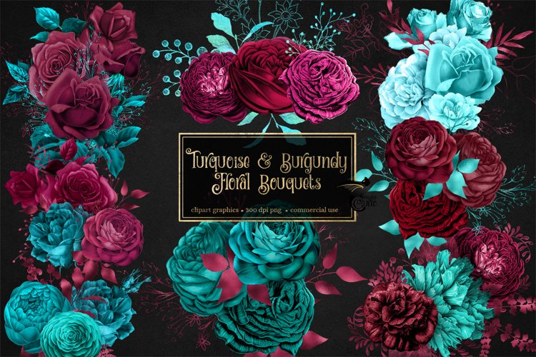 Turquoise and Burgundy Floral Bouquets Clipart example image 1