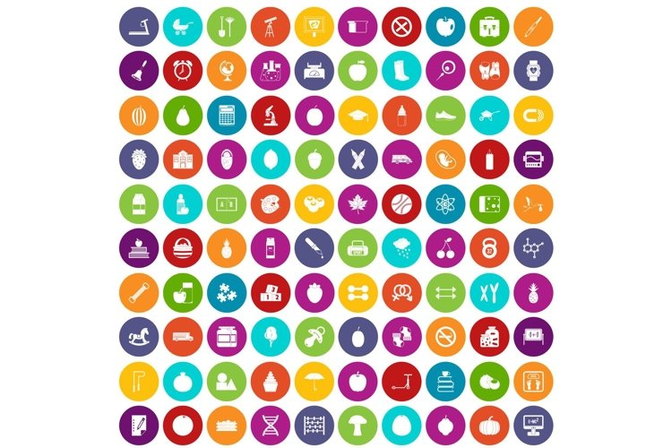 100 apple icons set color example image 1