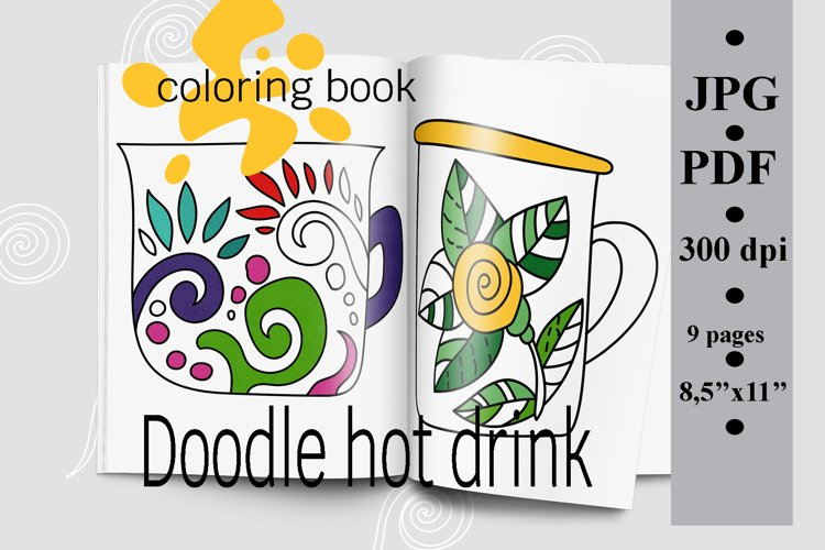 Doodle hot drink coloring book Printable PDF, coloring pages