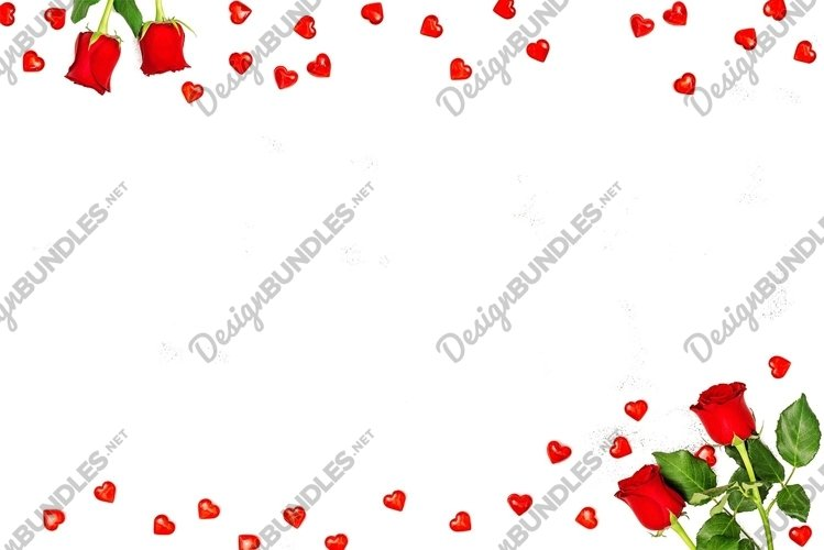 Valentines day template red hearts flowers decoration example image 1