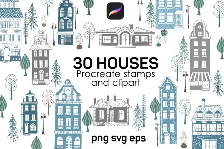 House Procreate stamp brushes and cliparts example image 1