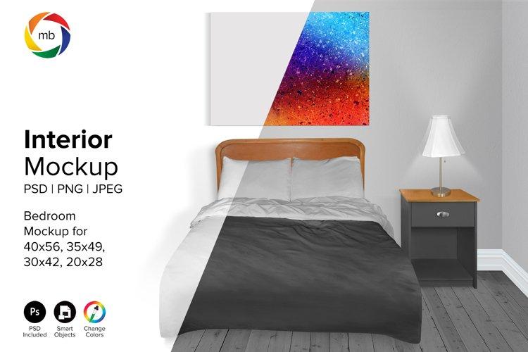 Bedroom Mockup 20x28, 30x42, 35x49, 40x56 - PSD, PNG, JPG