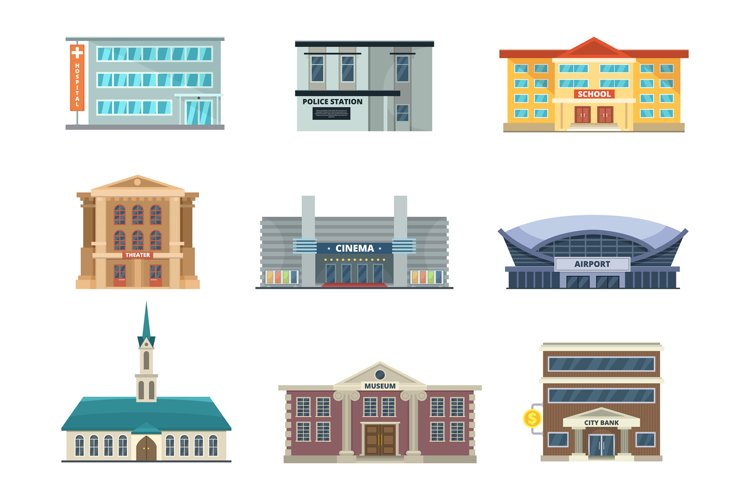 Different municipal buildings. Police station, school, hospi example image 1