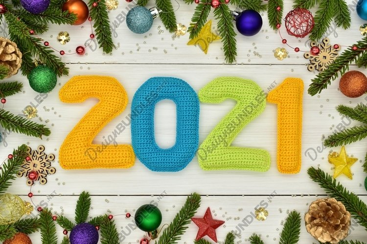 New year 2021, Christmas. Knitted colored numbers. example image 1