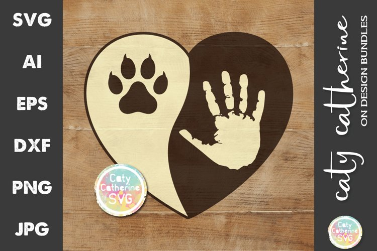 Love Heart with Hand and Pet Cat Paw Print SVG Cut File example image 1