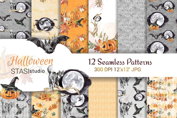 Halloween Watercolor Handpainted Paper, Seamless Patterns example image 1