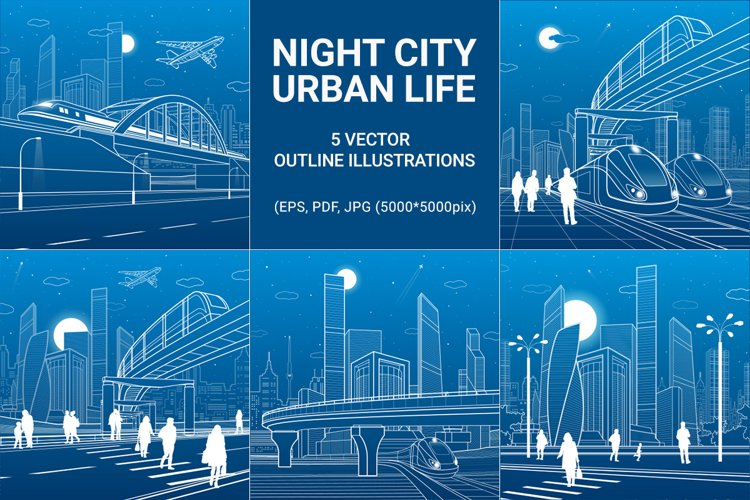 5 vector outline illustrations of the night city