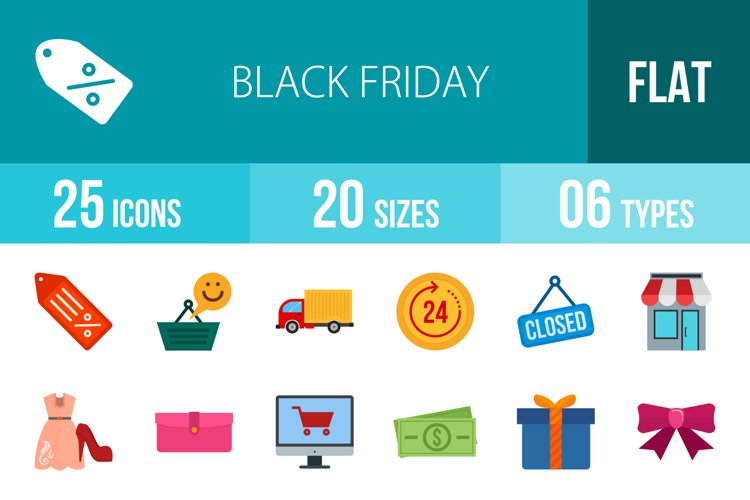 25 Black Friday Flat Multicolor Icons example image 1