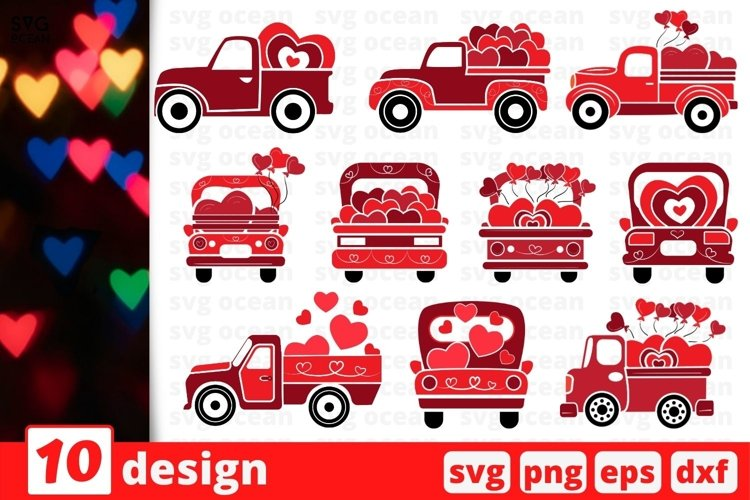 Valentines Day Truck SVG Bundle | Valentines Day Cricut example image 1