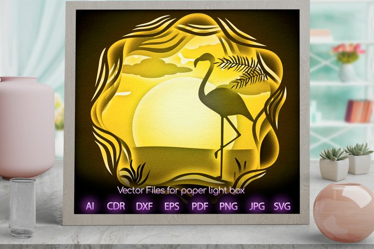 peacock Light box PNG SVG DXF CDR template Papercut example image 1