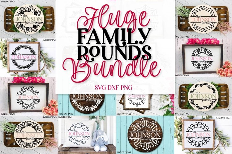 Huge Family Name Rounds SVG Bundle - Cuttable Frames Set