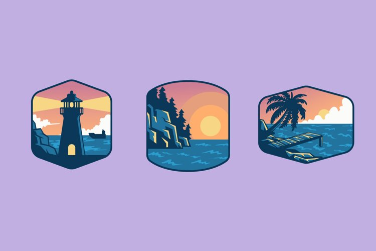 Beach View Badge illustrations example image 1